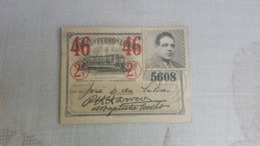 ANTIQUE PORTUGAL SEASON TICKET PASSE CARRIS DE FERRO DE LISBOA 2ª CLASSE 1946 - Abonnements Hebdomadaires & Mensuels