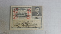 ANTIQUE PORTUGAL SEASON TICKET PASSE CARRIS DE FERRO DE LISBOA 2ª CLASSE 1947 - Abonos
