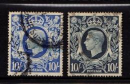 GREAT  BRITAIN    1939    King  George  VI    10/-  Dark  Blue  And  10/-  Ultramarine    USED - 1902-1951 (Könige)