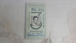 ANTIQUE PORTUGAL SEASON TICKET PASSE CAMINHOS DE FERRO PORTUGUESES ROSSIO QUELUZ 1958 - Abonos
