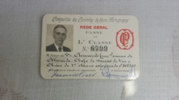 ANTIQUE PORTUGAL SEASON TICKET PASSE CAMINHOS DE FERRO PORTUGUESES REDE GREAL 1ª CLASSE 1947 - Abonnements Hebdomadaires & Mensuels