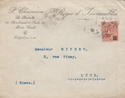 LETTRE. MONACO. 1923. P.CHAIMSON LA RADIEUSE REGIE D'IMMEUBLES.  MONTE-CARLO POUR LYON  /  3 - Monaco