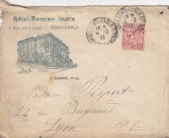 LETTRE. MONACO. 1911.  HOTEL PENSION LUCIE.  MONTE-CARLO POUR LYON  /  3 - Monaco