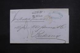 """FRANCE - Lettre De Messina Pour La France En 1852  Cachet D'entrée En France """" Deux Siciles 1 Marseille """" - L 46226 - Storia Postale"""