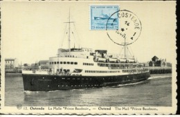 48880 Belgium, Maximum  1946 Ostende,  Le Bateau Prince Baudouin, Ship, - Maximum Cards