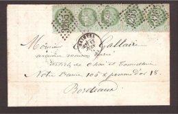 GC 3265 Charente Saintes → Bordeaux 1874 - CÉRÈS 5c. X 5 - Postmark Collection (Covers)