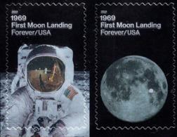 USA - 2019 - First Moon Landing - Mint Self-adhesive Stamp Set With Metallic Printing - Unused Stamps