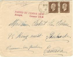 RARE- PAIRE 2F MARIANE DULAC TARIF PARTICULIER LETTRE CANADA 2ème ECHELON 10/07/47 + CENSURE - Marcophilie (Lettres)