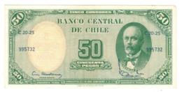 Chile, 5 Centesimos De Escudo On 50 Pesos. XF/AUNC. - Chili