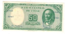 Chile, 5 Centesimos De Escudo On 50 Pesos. AUNC. - Chili