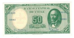 Chile, 5 Centesimos De Escudo On 50 Pesos. AUNC/UNC. - Chili