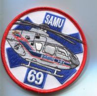 PA349 PATCH ECUSSON AIR AVIATION SANTE HELICOPTERE HELICO SAMU 69 LYON 90MM SUR VELCRO - Patches
