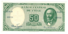 Chile, 5 Centesimos De Escudo On 50 Pesos. AUNC/UNC.(little Hole) - Chili