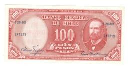 Chile, 10 Centesimos De Escudo On 100 Pesos . AUNC(one Litt.hole) - Chili