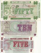 GRANDE BRETAGNE 5-10-50 PENCE UNC ( 3 Billets ) - Forze Armate Britanniche & Docuementi Speciali
