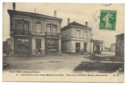 33-HASTIGNAN / ASTIGNAN-Place De La Croix Et Maison GOURMERON...1915  Animé - Otros Municipios