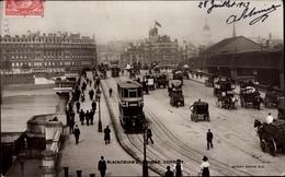 Cp London City, Blackfriars Bridge, Bus, Horse Carriages, Pedestrians - London