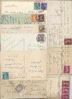 Timbres Divers Sur 10 Sur CP De Lourdes  Année 1934 à 1952 - Francia