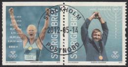 Sweden 2012 Used Sc 2689 Pair (6k) Ragnar Skanaker, Carolina Kluft Gold Medalists - Oblitérés
