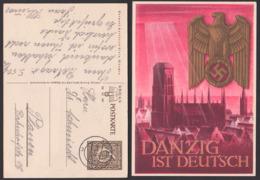Danzig Ist Deutsch Marienkirche Adler Mit Hakenkreuz Card, Used Germany P287 AUGSBURG - Allemagne