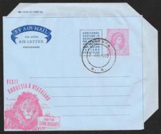 RHODESIA & NYASALAND Aerogramme 6d Queen 1959 Luanshya Cancel Lion Game Reserves Cachet! STK#X21334 - Rhodesia & Nyasaland (1954-1963)