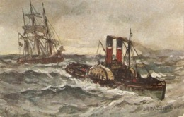 """J.R.Bagshawe. Ships. Toilerso F The Sea"" Tuck Oilette Connoisseur Ser. PC # 2817 - Tuck, Raphael"