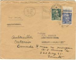 2F + 4F GANDON TARIF LETTRE AVION LONDRES REEXPEDIEE AU CANADA 14/01/46 CACHET ARRIVEE - Marcophilie (Lettres)