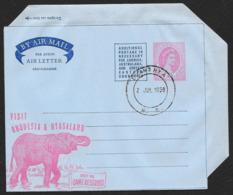 RHODESIA & NYASALAND Aerogramme 6d Queen 1959 Luanshya Cancel Elephant Game Reserves Cachet! STK#X21338 - Rhodesia & Nyasaland (1954-1963)