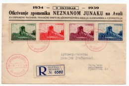 YUGOSLAVIA, SERBIA, BELGRADE, 09.10.1939 FDC,, AVALA UNKNOWN SOLDIER'S MONUMENT, FOR  DISABLED WAR WETWRANS - FDC