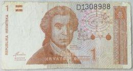 Billete Croacia. 1 Dinar. 1991. - Croacia