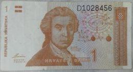 Billete Croacia. 1 Dinar. 1991 - Croacia