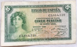 Billete 5 Pesetas. 1935. República Española. - [ 2] 1931-1936 : Republiek