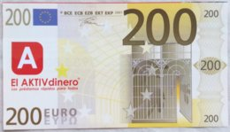Billete 200 Euros. 2001. España. Europa. Facsimil. Sin Serie. Sin Circular. - [ 8] Vals En Specimen