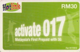 MALASIA. Hotlink Activate 017 RM 30 (green). 08/2009. MY-prepaid-012B. (006) - Malasia