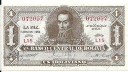 BOLIVIE 1 BOLIVIANO  L.1928 UNC P 128 A - Bolivië