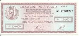 BOLIVIE 100000 PESOS BOLIVIANOS 1984 UNC P 188 - Bolivië