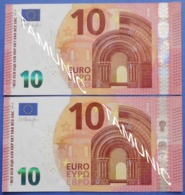ITALY 2 X 10 EURO S 2014 S002 B4 And  S003 E3 (DIFFERENT CUTTING) - DRAGHI - EURO