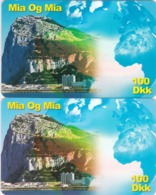 Denmark, 100DKK, Mia Og Mia, Globe, Gibraltar ?, 2 Scans.  Different Backs - Dänemark
