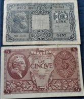 ITALIA BANCNOTE 5 LIRE 1944 + 10 LIRE 1935 - [ 1] …-1946 : Regno