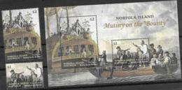 "NORFOLK ISLAND , 2019, MNH, SHIPS, MUTINY ON THE ""BOUNTY"", 2v+SHEETLET - History"