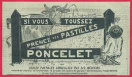 Pastilles Poncelet. Si Vous Toussez Prenez Des Pastilles Poncelet. Visuel Un Homme Peint Une Barrière Et Une Vache. 1910 - Publicités