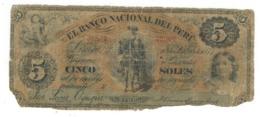 Peru 5 Soles 1877, Poor/G. Rare. - Perú