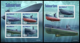 MOZAMBIQUE 2019 - Submarines. M/S + S/S. Official Issue [MOZ190528] - Submarines