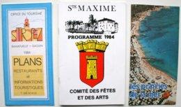 3 Documents Publicitaires -ST-TROPEZ - Ste MAXIME - PRAIRIES De La MER - Avec Nbx Publicités (2 Scans) Années 80  /P93 - Dépliants Turistici