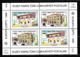 1990 Cipro Turca Turkish Cyprus EUROPA CEPT EUROPE UFFICI POSTALI Foglietto MNH** POST OFFICE Souv. Sheet - 1990