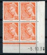 """N° 409 **(MNH). Coin Daté Du 5/10/38 / Bloc De Quatre """"Mercure"""". - Angoli Datati"""