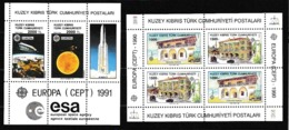 1990 1991 Cipro Turca Turkish Cyprus EUROPA CEPT EUROPE 2 Foglietti MNH** 2 Souv. Sheets - 1990