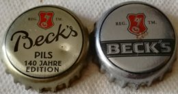 Lote 2 Chapas Kronkorken Caps Tappi Cerveza Beck's. Alemania - Cerveza