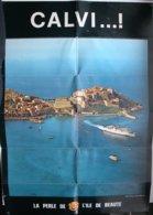 CALVI Corse - Affiche 42 X 60 Cm Avec Plan De La Ville Au Dos - **/P111b - Dépliants Turistici