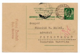 1937 YUGOSLAVIA, SLOVENIA, TPO 72  BOHINJSKA BISTRICA-LJUBLJANA, SENT TO PETROVGRAD, ZRENJANIN, STATIONERY CARD, USED - Entiers Postaux